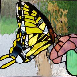 Stained glass swallowtail butterfly, midland park stained glass