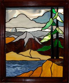 Mountains and lake stained glass, Boehm Stained Glass Studio, Midland Park, NJ