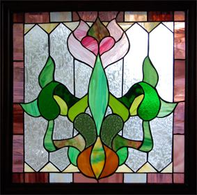Victorian tulip flower stained glass window